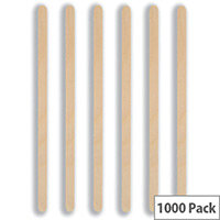 Caterx Disposable Cutlery 190mm Wooden Drink Stirrers Pack of 1000