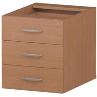 3 Drawer Fixed Desk Pedestal Beech