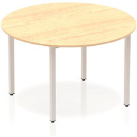 Modular Circular Table Maple with Silver Box Frame D1200mm