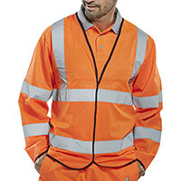 B-Seen High Visibility Long Sleeve Jerkin Small Orange Ref PKJENGORS