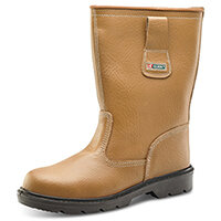 Click Footwear Unlined PU/Leather Rigger Work Safety Boots Size 6 Tan - Joule Steel Toe Cap & Midsole Protection, Shock Absorber Heel, Anti-stati, Oil Resistant Sole, Slip Resistant Ref RBUS06