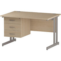 Rectangular Double Cantilever Silver Leg Office Desk With Fixed 3 Drawer Pedestal Maple W1200xD800mm