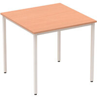 Modular Square Table Beech with Silver Box Frame W800xD800mm