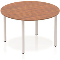 Modular Circular Table Walnut with Silver Box Frame D1200mm