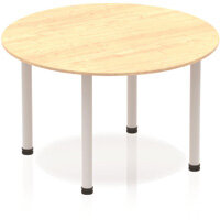 Modular Circular Table Maple with Silver Tubular Steel Frame D1200mm