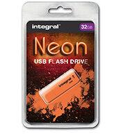 Integral Neon USB Drive 2.0 32GB Orange Ref INFD32GBNEONOR
