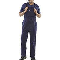 Click Workwear Bib & Brace Cotton Drill 32 inch Protective Trousers Navy Blue Ref CDBBN32