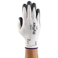Ansell HyFlex 13 Gauge, Size 7 Cut-Resistant Palm Coated Medium-Duty Work Gloves Grey/White