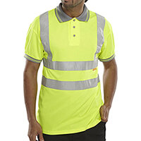 B-Seen Short Sleeve Hi-Vis Polo Shirt Size L Saturn Yellow Ref BPKSENSYL
