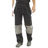Click Workwear Kington Work Trousers With Multipurpose Pockets 30 inch Waist with Tall Leg Black Ref KMPTBL30T