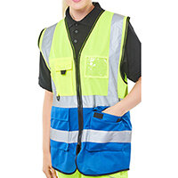 B-Seen Executive Two Tone High Visibility Waistcoat Vest Size M Saturn Yellow & Royal Blue Ref HVWCTTSYRM
