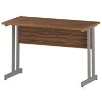 Rectangular Double Cantilever Silver Leg Return Office Desk Walnut W1200xD600mm