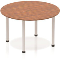 Modular Circular Table Walnut with Silver Tubular Steel Frame D1200mm