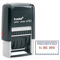 Trodat Printy 4750 L1 Stamp Received in Blue Date in Red