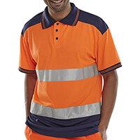 B-Seen Hi-Vis Polyester Two Tone Polo Shirt Size XS Orange & Navy Blue Ref CPKSTTENORXS
