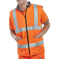 B-Seen Reversible Hi-Vis Bodywarmer Vest Size L Orange & Grey Ref BWENGORL
