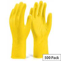 Gloveszilla Nitrile Disposable Diamond Grip Gloves 30cm L Yellow Pack of 500 Ref GZNDG15YL