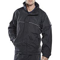B-Dri Weatherproof Springfield Jacket Hi-Vis Piping Size M Navy Blue Ref SJNM