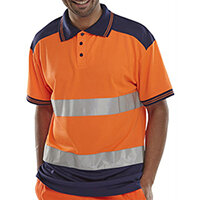 B-Seen Hi-Vis Polyester Two Tone Polo Shirt Size L Orange & Navy Blue Ref CPKSTTENORL