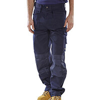 Click Premium Work Trousers With Multipurpose Holster Pockets 30 inch Waist with Tall Leg Navy Blue Ref CPMPTN30T