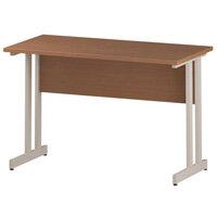 Rectangular Double Cantilever White Leg Return Office Desk Beech W1200xD600mm