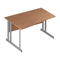 Wave Double Cantilever Silver Leg Left Hand Office Desk Beech W1400mm