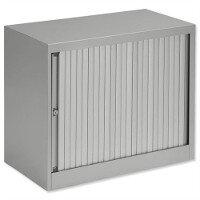 Bisley Desk High Tambour Door Cupboard W800mm Grey Frame & Grey Shutters