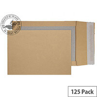 Purely Packaging C4 Manilla Envelopes Board Backed Gusset Peel and Seal (Pk 125)