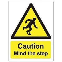 Caution Mind The Step Sign Self Adhesive Vinyl 150x200mm