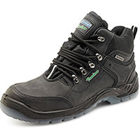 Click Traders S3 Hiker Boots PU/Leather TPU Size 6 Black - Steel Toe Cap, Slip Resistant & Shock Absorber Heel, Anti-static & Oil Resistant Sole, Water Penetration Resistant  Ref CTF30BL06