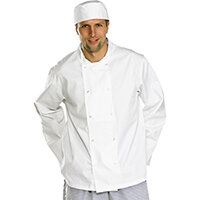Click Workwear Long Sleeve Chefs Jacket Size S White Ref CCCJLSWS