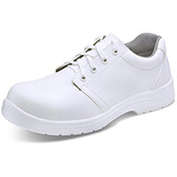 Click Footwear Micro Fibre Washable Tie Work Shoes S2 Steel Toe Cap Size 4 White - Slip Resistant & Shock Absorber Heel, Anti-static & Oil Resistant Sole, Water Resistant Upper Ref CF82204