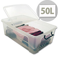 Strata Smart Storage Box Clip on Lid 50 Litres Clear