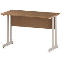 Rectangular Double Cantilever White Leg Return Office Desk Oak W1200xD600mm