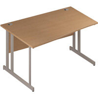 Wave Double Cantilever Silver Leg Left Hand Office Desk Oak W1400mm