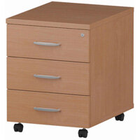 3 Drawer Mobile Desk Pedestal Beech