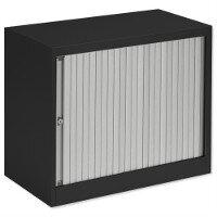 Bisley Desk High Tambour Door Cupboard W800mm Black Frame & Silver Shutters