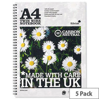 Silvine A4 Notebook Punched 4 Holes 120 Pages Pack 5
