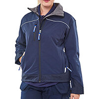 Click Workwear Ladies Soft Shell Water Resistant Jacket Size S (10) Navy Blue Ref LSSJNS