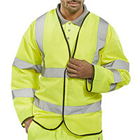 B-Seen High Visibility Long Sleeve Jerkin Small Saturn Yellow Ref PKJENGS