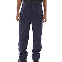 Click Heavyweight Drivers Trousers With Flap Pockets 30 inch Waist with Tall Leg Navy Blue Ref PCT9N30T