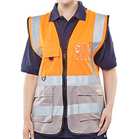 B-Seen Executive Two Tone High Visibility Waistcoat Vest Size M Orange & Grey Ref HVWCTTORGYM