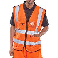 B-Seen Executive High Visibility Waistcoat Vest Size M Orange Ref WCENGEXECORM