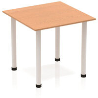 Modular Square Table Maple with Silver Tubular Steel Frame W800xD800mm