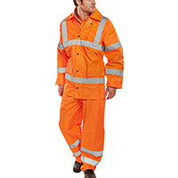 B-Seen Hi-Vis Lightweight Protective Coverall Work Suit - Jacket & Trousers EN ISO 20471 EN 343 Size 5XL Orange Ref TS8OR5XL