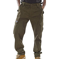 Click Workwear Polycotton Combat Work Trousers 30 inch Waist with Regular Leg Olive Green Ref PCCTO30