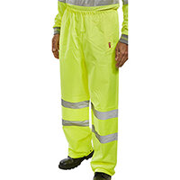 B-Seen Traffic Trousers High Visibility With Reflective Tape Small Saturn Yellow Ref TENSYS