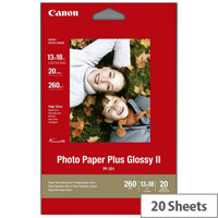 Canon PP-201 13 x 18cm/5 x 7 inch 260g/m2 Glossy II Plus Photo Paper 20 Sheets