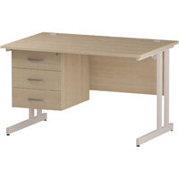 Rectangular Double Cantilever White Leg Office Desk With Fixed 3 Drawer Pedestal Maple W1200xD800mm