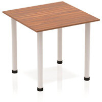 Modular Square Table Walnut with Silver Tubular Steel Frame W800xD800mm